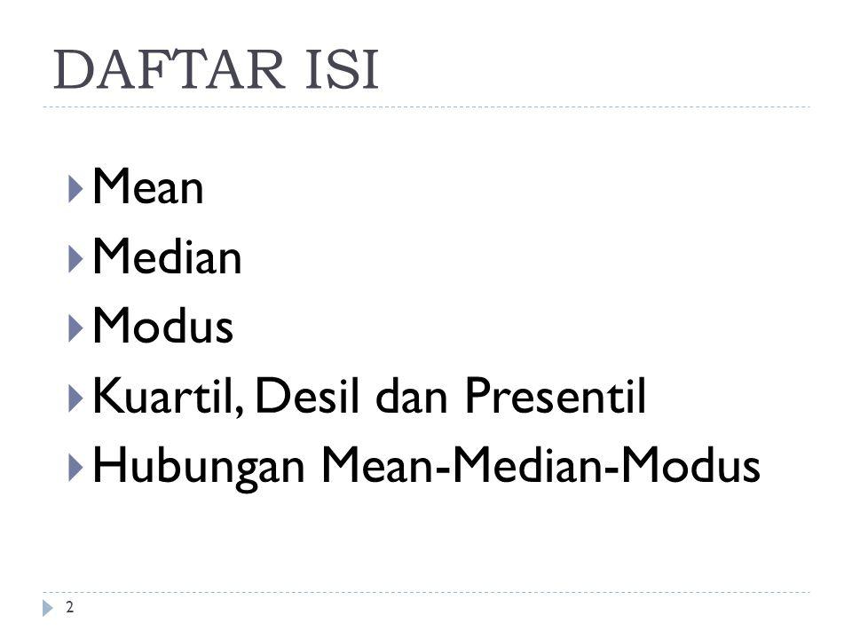 DAFTAR ISI Mean Median Modus Kuartil, Desil dan Presentil