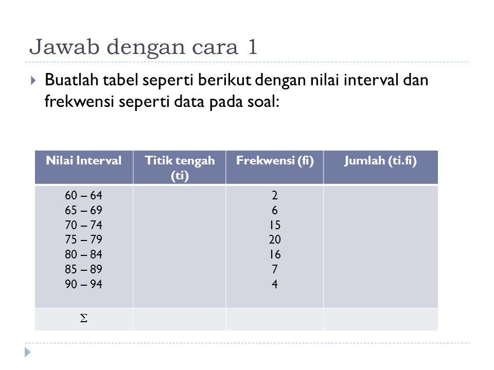 Jawab dengan cara 1 Buatlah tabel seperti berikut dengan nilai interval dan frekwensi seperti data pada soal: