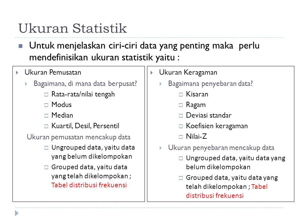 Ukuran Statistik Untuk menjelaskan ciri-ciri data yang penting maka perlu mendefinisikan ukuran statistik yaitu :