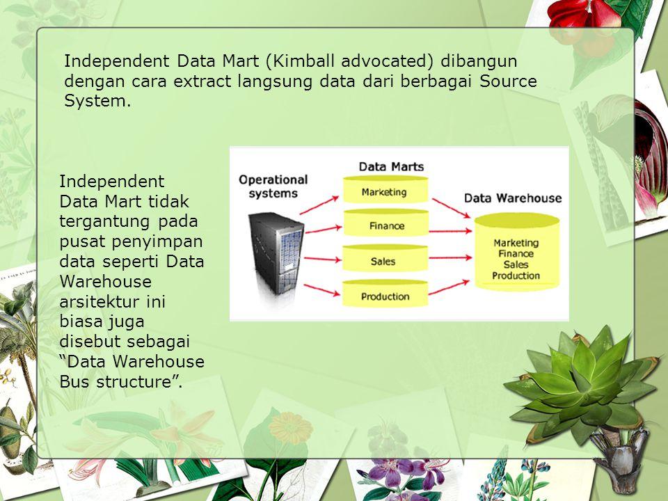 Independent Data Mart (Kimball advocated) dibangun dengan cara extract langsung data dari berbagai Source System.