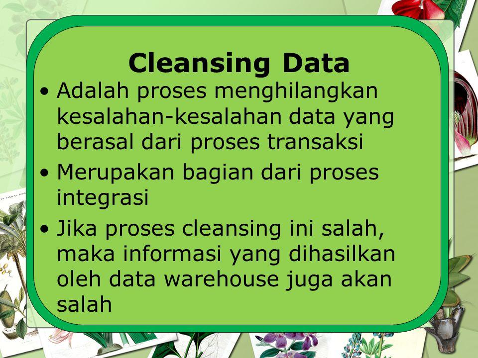 Cleansing Data Adalah proses menghilangkan kesalahan-kesalahan data yang berasal dari proses transaksi.