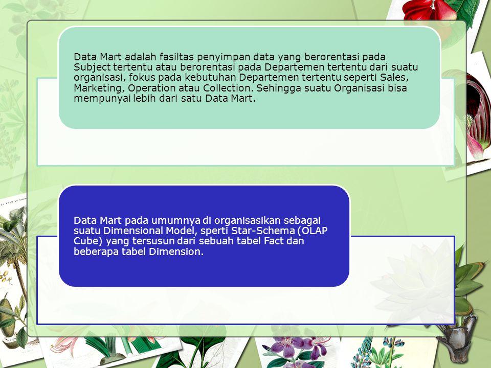 Data Mart adalah fasiltas penyimpan data yang berorentasi pada Subject tertentu atau berorentasi pada Departemen tertentu dari suatu organisasi, fokus pada kebutuhan Departemen tertentu seperti Sales, Marketing, Operation atau Collection. Sehingga suatu Organisasi bisa mempunyai lebih dari satu Data Mart.
