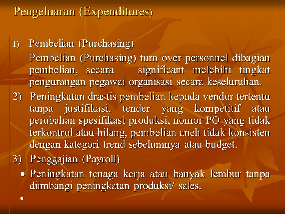 Pengeluaran (Expenditures)