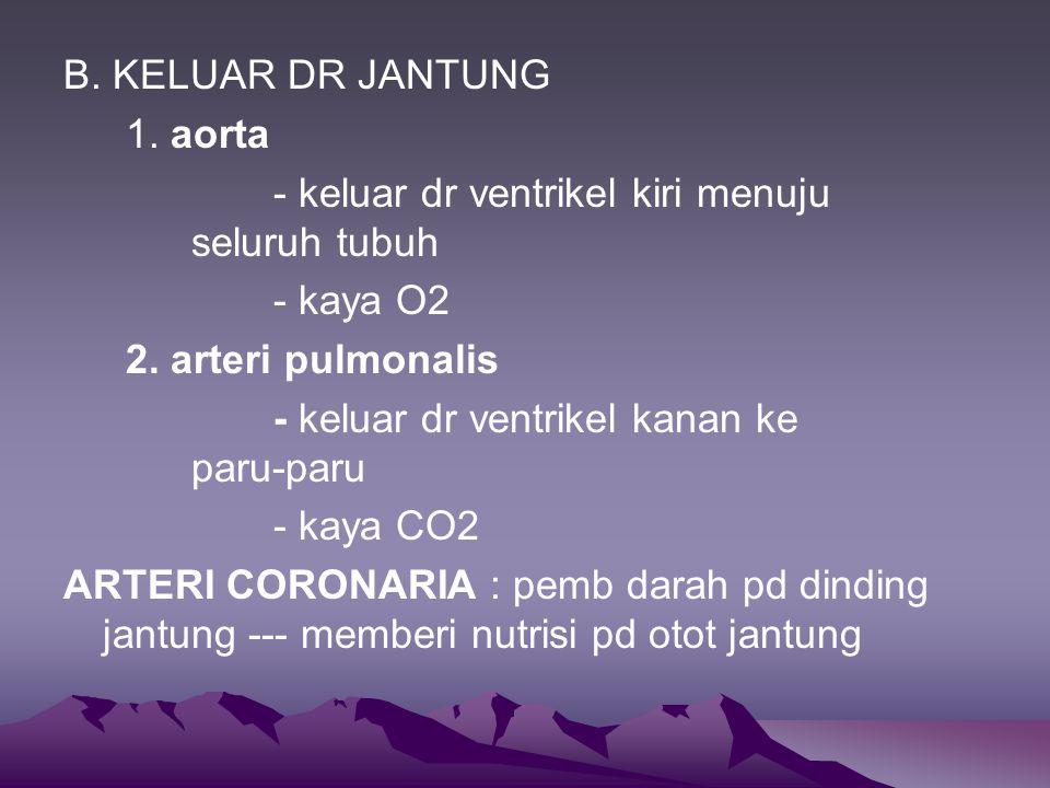 B. KELUAR DR JANTUNG 1. aorta. - keluar dr ventrikel kiri menuju seluruh tubuh. - kaya O2. 2. arteri pulmonalis.