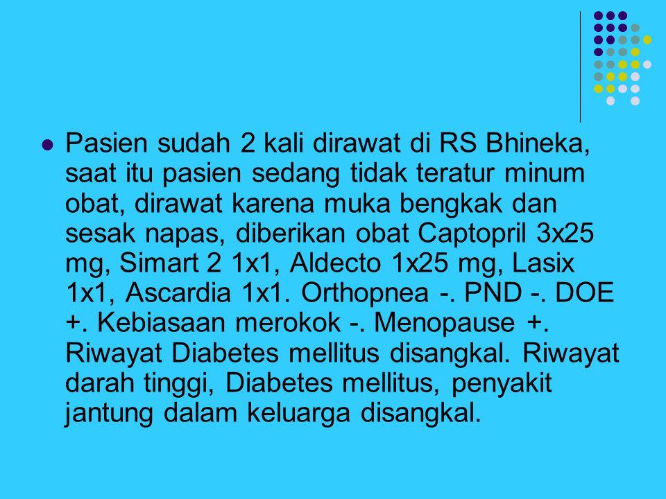 Pasien sudah 2 kali dirawat di RS Bhineka, saat itu pasien sedang tidak teratur minum obat, dirawat karena muka bengkak dan sesak napas, diberikan obat Captopril 3x25 mg, Simart 2 1x1, Aldecto 1x25 mg, Lasix 1x1, Ascardia 1x1.
