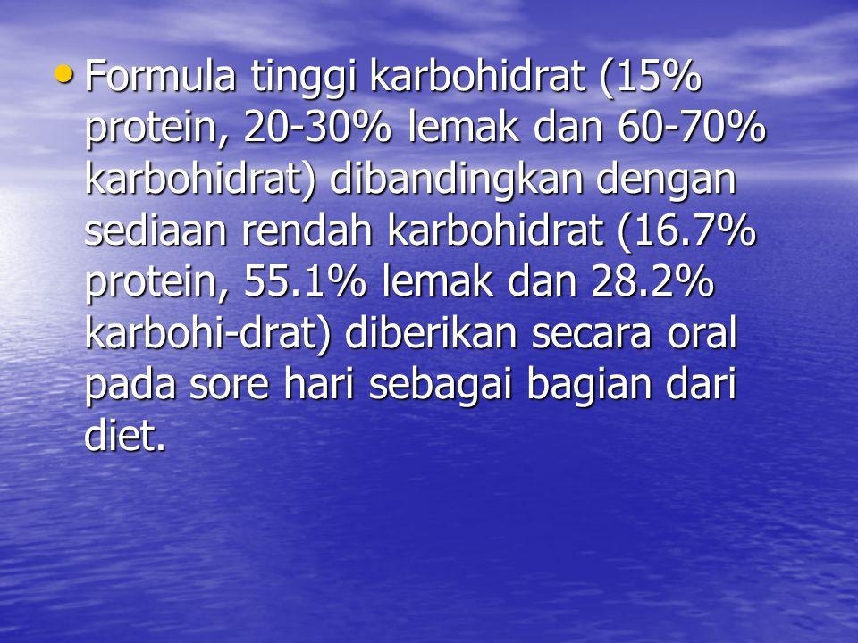 Formula tinggi karbohidrat (15% protein, 20-30% lemak dan 60-70% karbohidrat) dibandingkan dengan sediaan rendah karbohidrat (16.7% protein, 55.1% lemak dan 28.2% karbohi-drat) diberikan secara oral pada sore hari sebagai bagian dari diet.