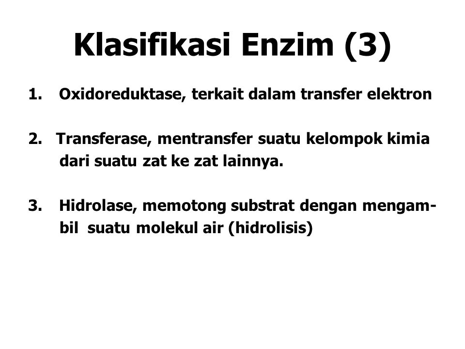 Klasifikasi Enzim (3) Oxidoreduktase, terkait dalam transfer elektron
