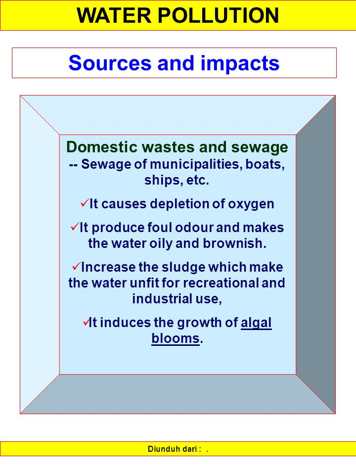WATER POLLUTION Sources and impacts