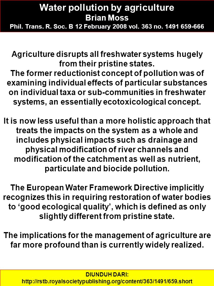 Water pollution by agriculture