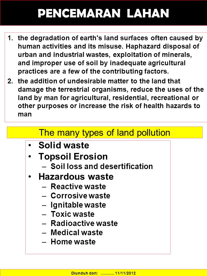 The many types of land pollution