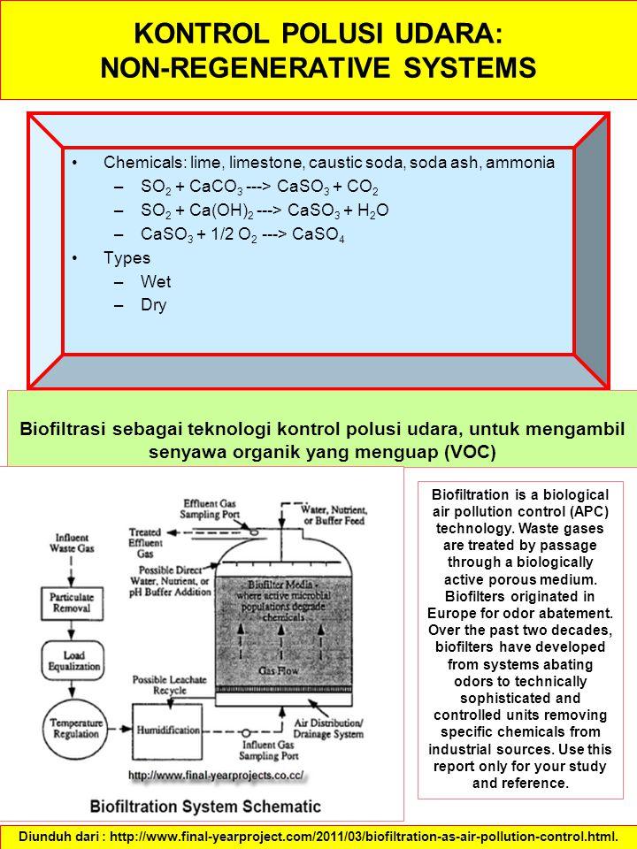 KONTROL POLUSI UDARA: NON-REGENERATIVE SYSTEMS