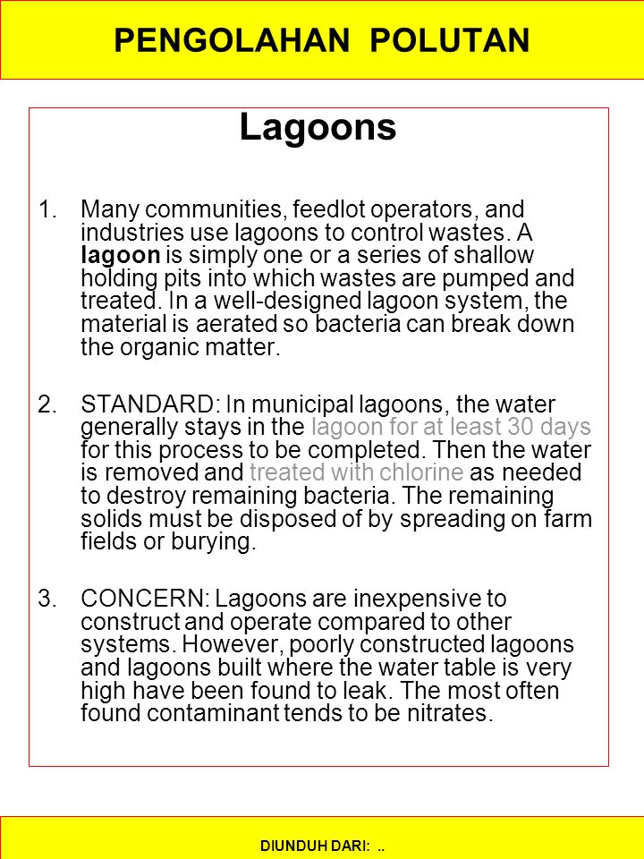 Lagoons PENGOLAHAN POLUTAN