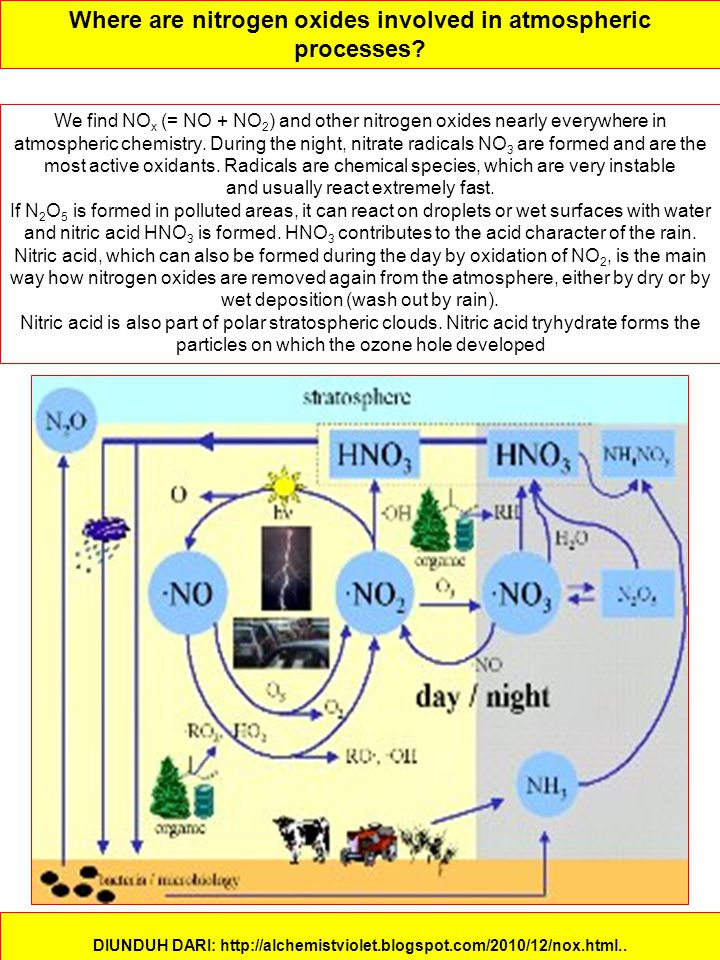 Where are nitrogen oxides involved in atmospheric processes