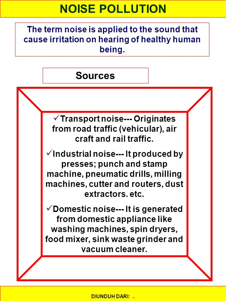 NOISE POLLUTION Sources