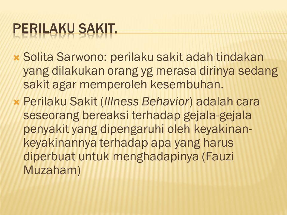 Perilaku Sakit. Solita Sarwono: perilaku sakit adah tindakan yang dilakukan orang yg merasa dirinya sedang sakit agar memperoleh kesembuhan.