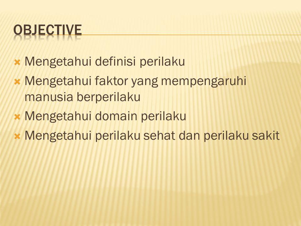 Objective Mengetahui definisi perilaku