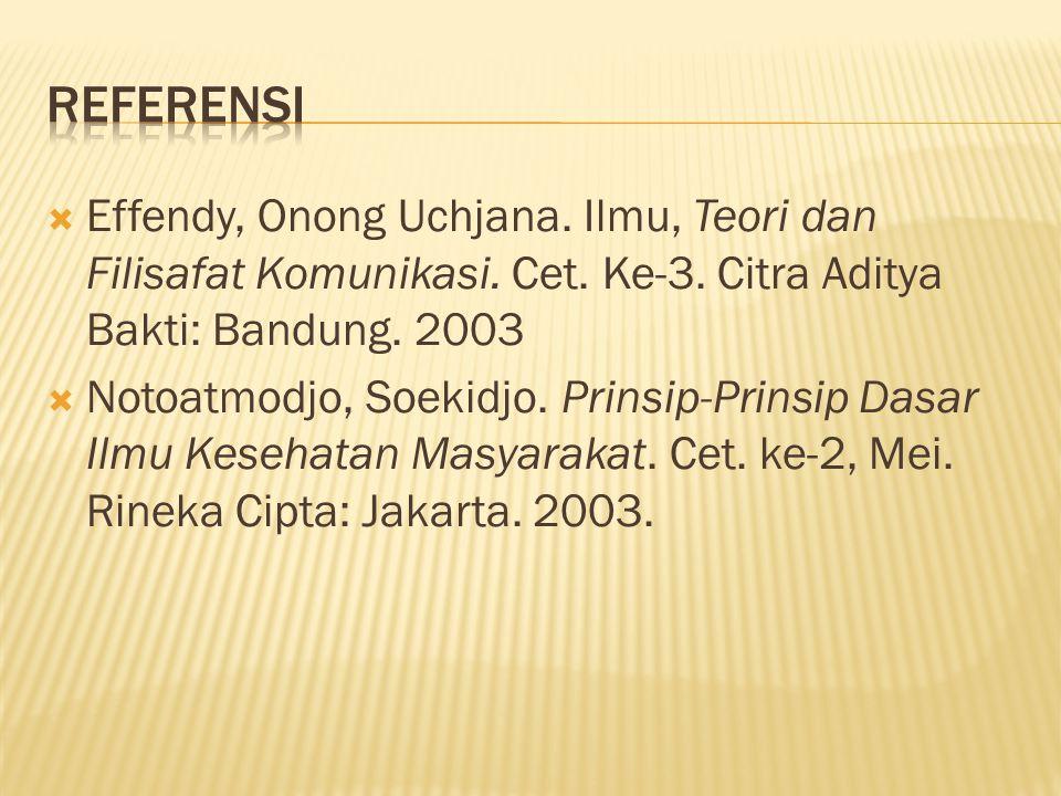 Referensi Effendy, Onong Uchjana. Ilmu, Teori dan Filisafat Komunikasi. Cet. Ke-3. Citra Aditya Bakti: Bandung. 2003.
