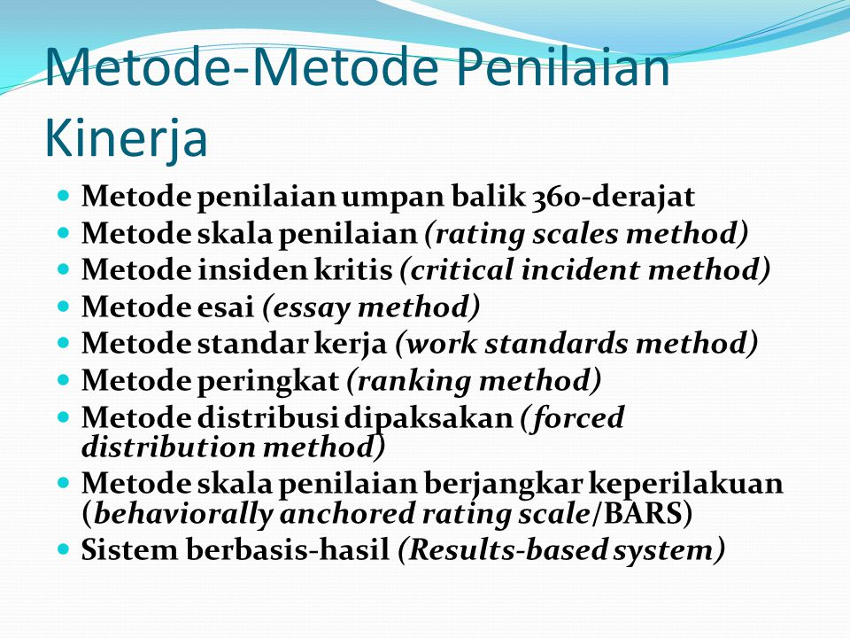 Metode-Metode Penilaian Kinerja