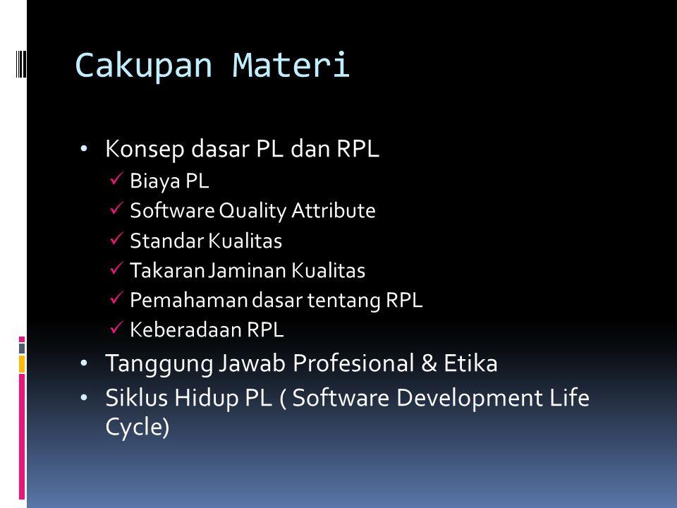 Cakupan Materi Konsep dasar PL dan RPL