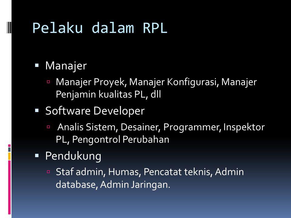 Pelaku dalam RPL Manajer Software Developer Pendukung