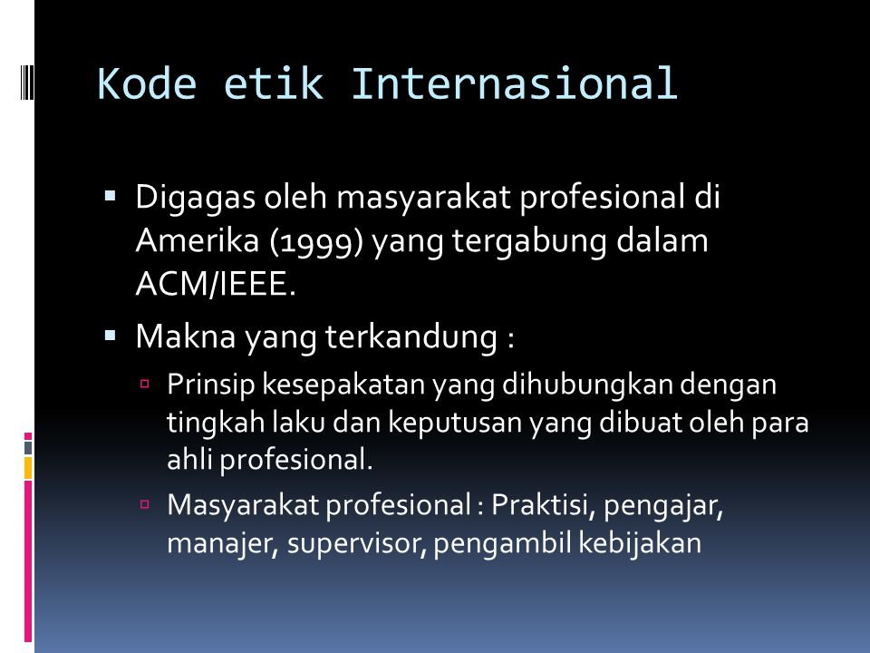 Kode etik Internasional
