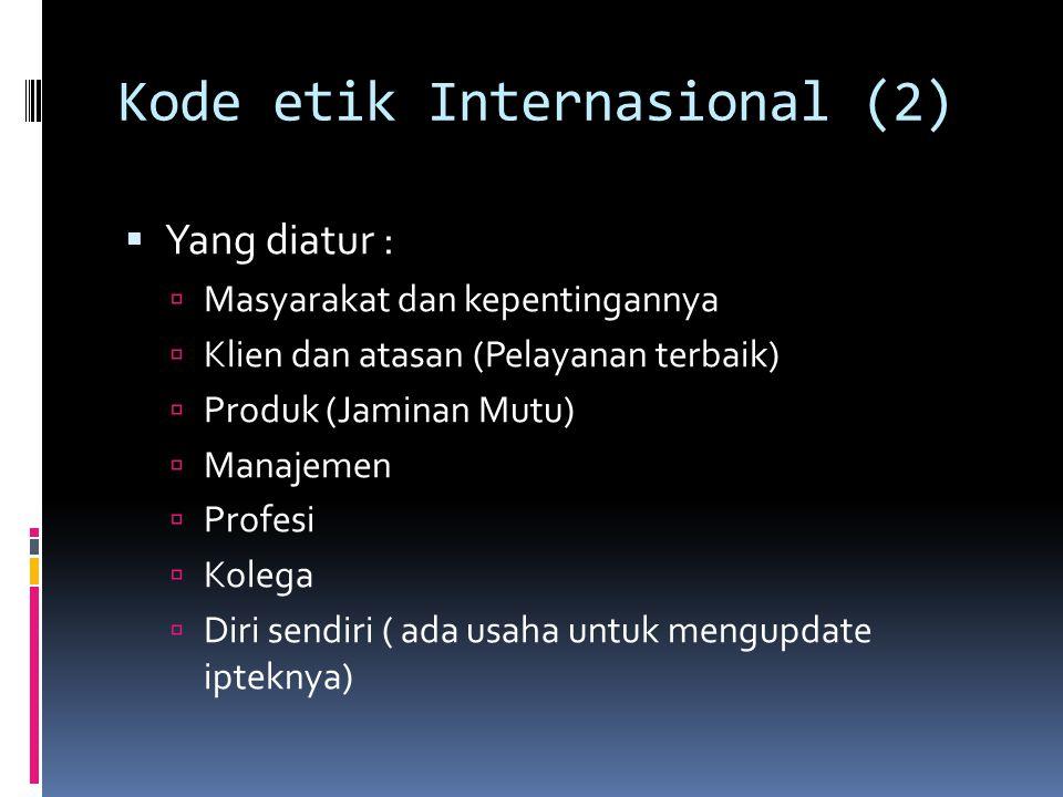 Kode etik Internasional (2)