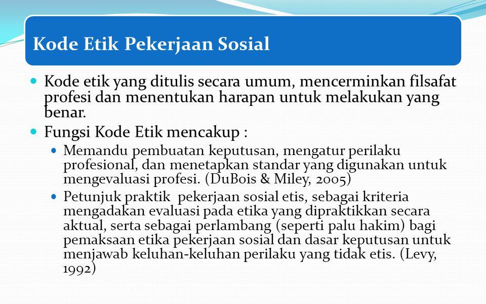 Kode Etik Pekerjaan Sosial