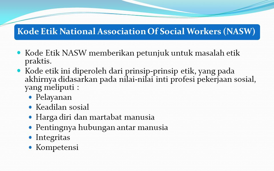 Kode Etik National Association Of Social Workers (NASW)