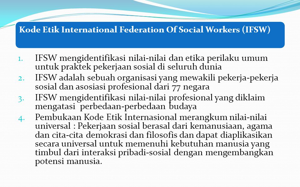 Kode Etik International Federation Of Social Workers (IFSW)