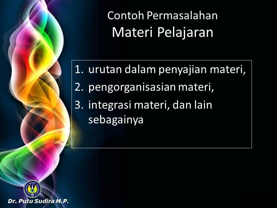 Contoh Permasalahan Materi Pelajaran