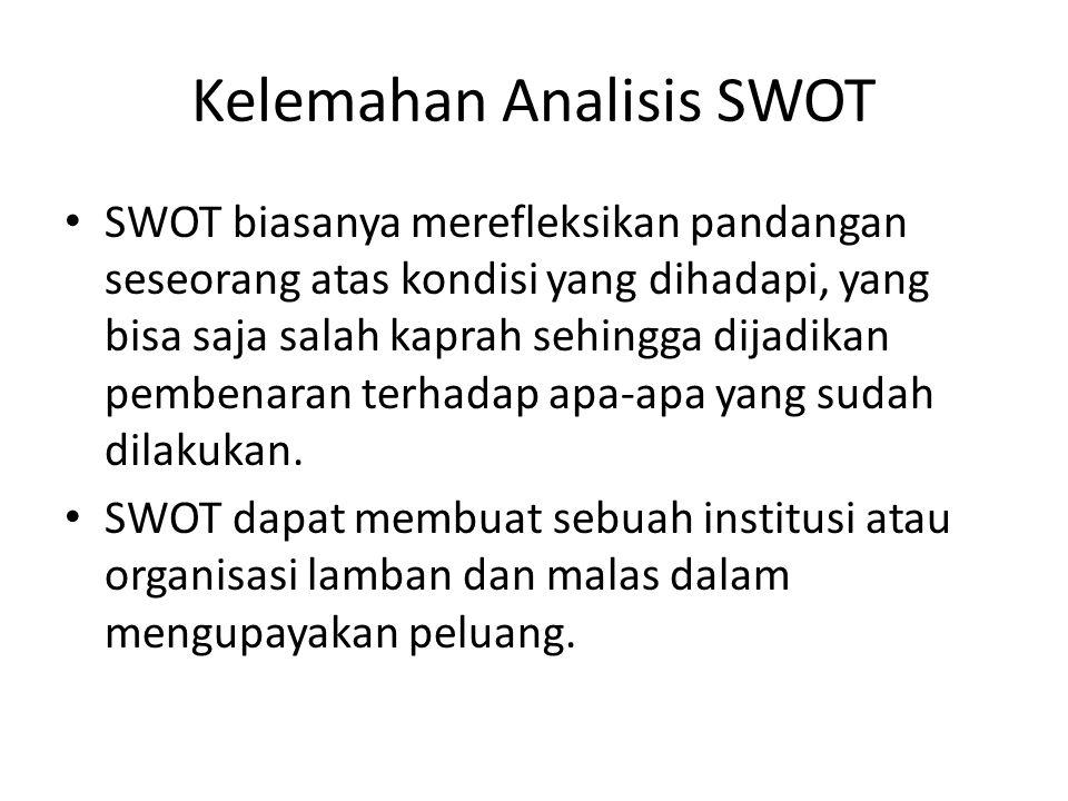 Kelemahan Analisis SWOT