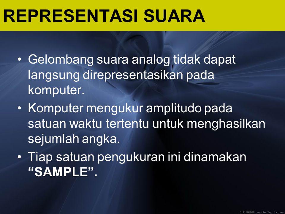 REPRESENTASI SUARA Gelombang suara analog tidak dapat langsung direpresentasikan pada komputer.