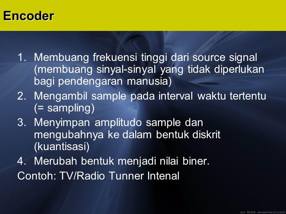 Encoder Membuang frekuensi tinggi dari source signal (membuang sinyal-sinyal yang tidak diperlukan bagi pendengaran manusia)