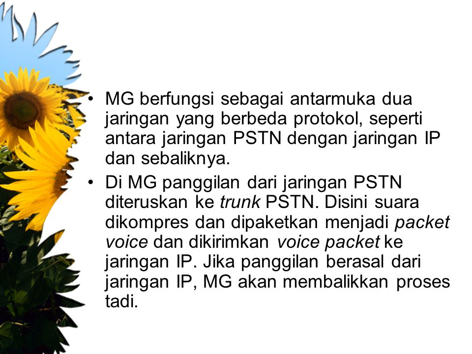 MG berfungsi sebagai antarmuka dua jaringan yang berbeda protokol, seperti antara jaringan PSTN dengan jaringan IP dan sebaliknya.