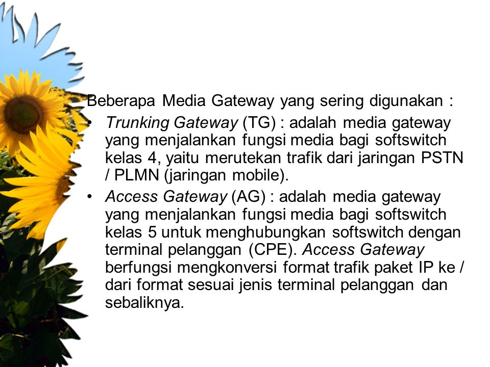 Beberapa Media Gateway yang sering digunakan :