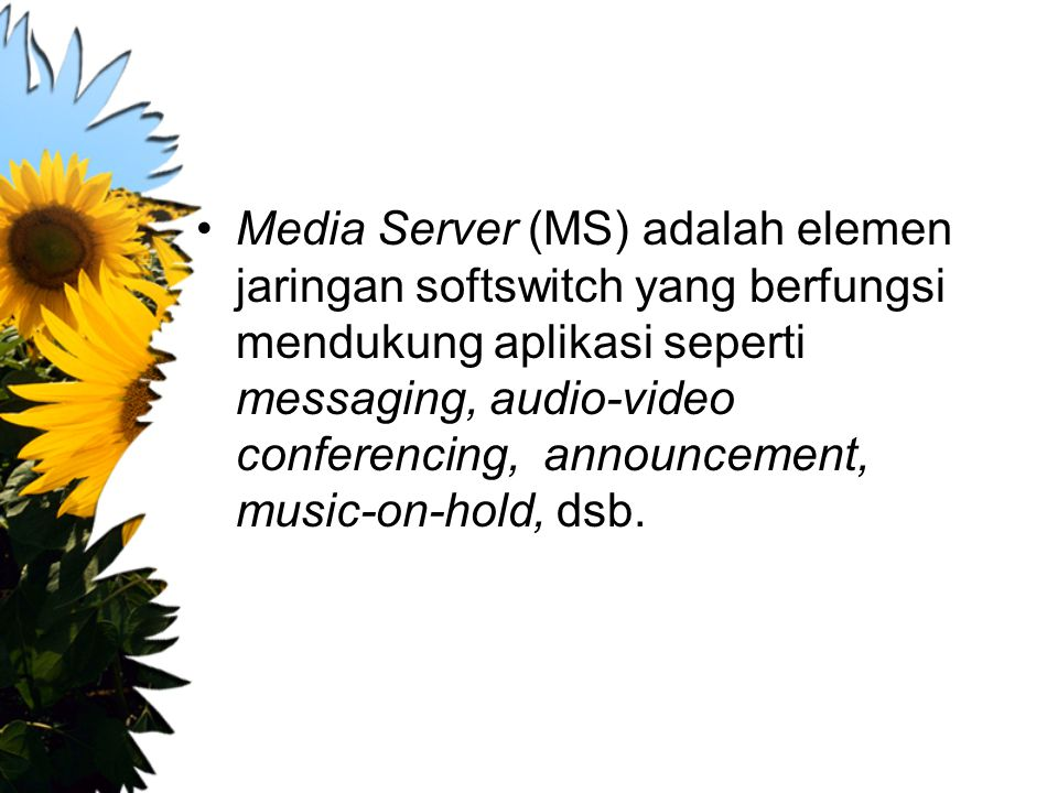 Media Server (MS) adalah elemen jaringan softswitch yang berfungsi mendukung aplikasi seperti messaging, audio-video conferencing, announcement, music-on-hold, dsb.