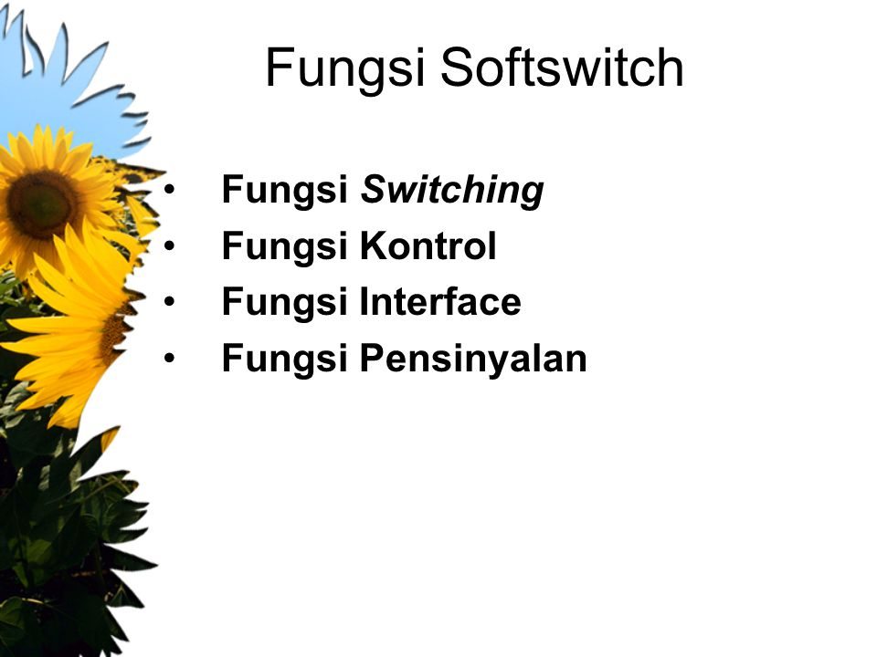 Fungsi Softswitch Fungsi Switching Fungsi Kontrol Fungsi Interface
