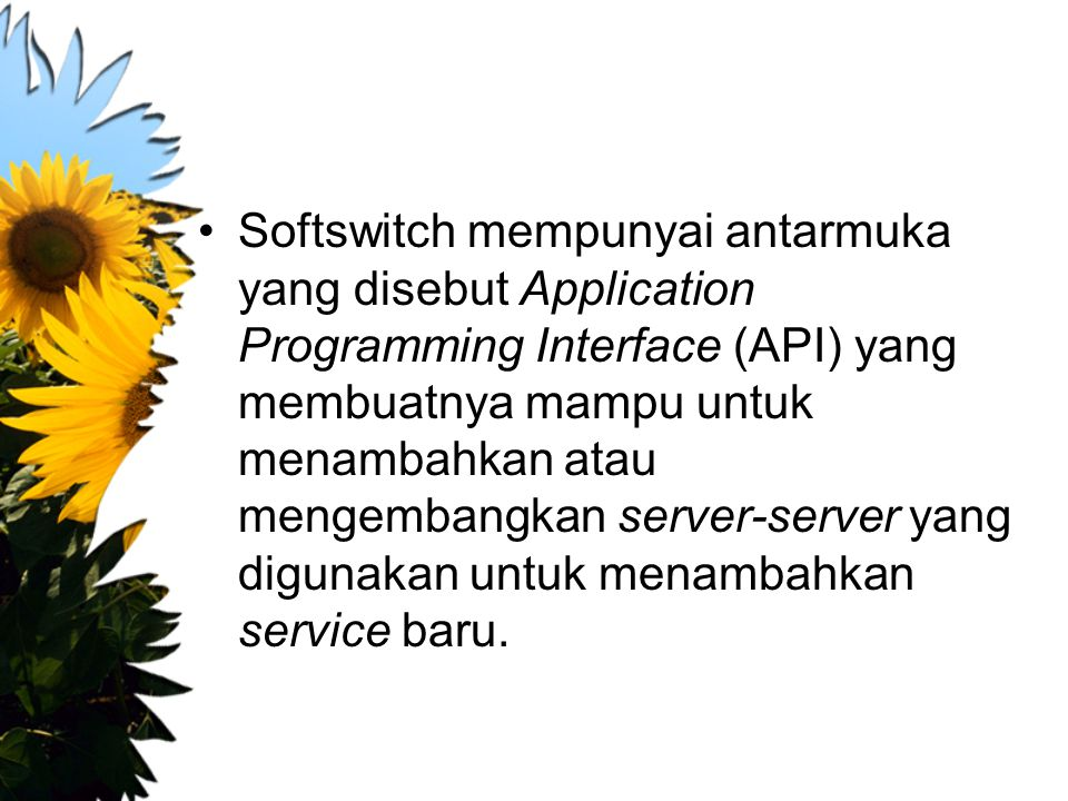 Softswitch mempunyai antarmuka yang disebut Application Programming Interface (API) yang membuatnya mampu untuk menambahkan atau mengembangkan server-server yang digunakan untuk menambahkan service baru.