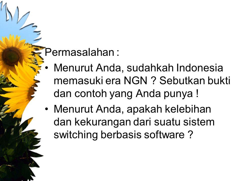 Permasalahan : Menurut Anda, sudahkah Indonesia memasuki era NGN Sebutkan bukti dan contoh yang Anda punya !
