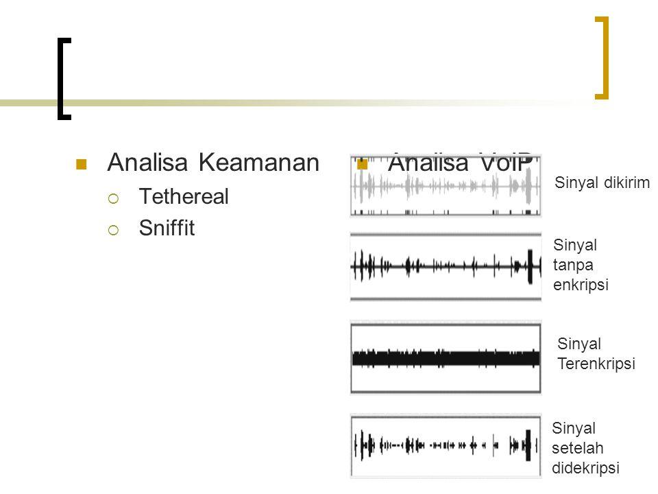 Analisa Keamanan Analisa VoIP Tethereal Sniffit Sinyal dikirim