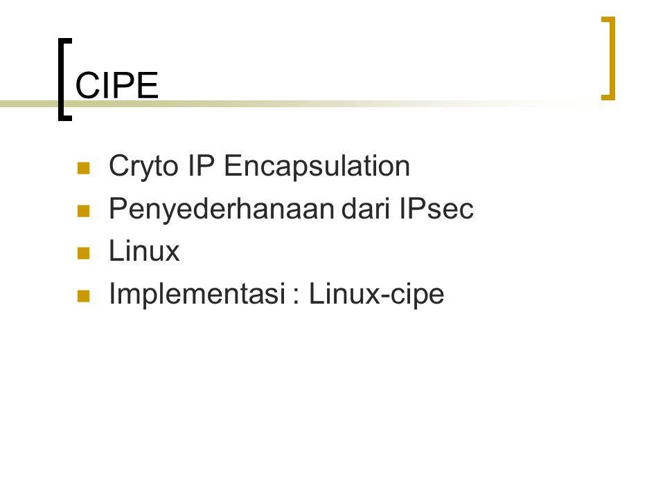 CIPE Cryto IP Encapsulation Penyederhanaan dari IPsec Linux
