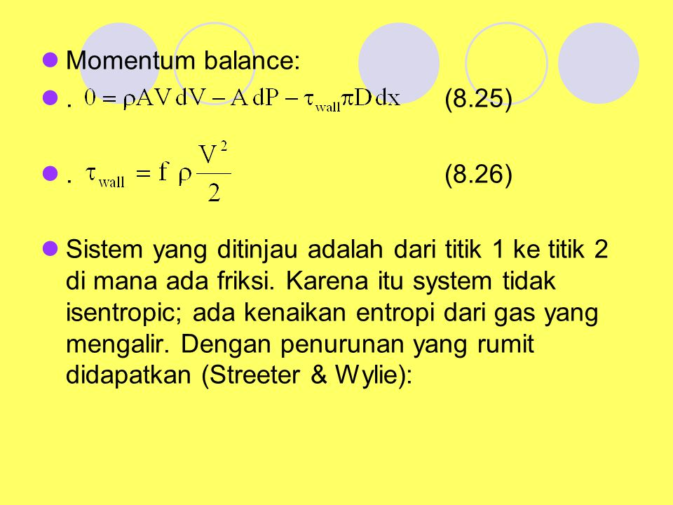 Momentum balance: . (8.25) . (8.26)
