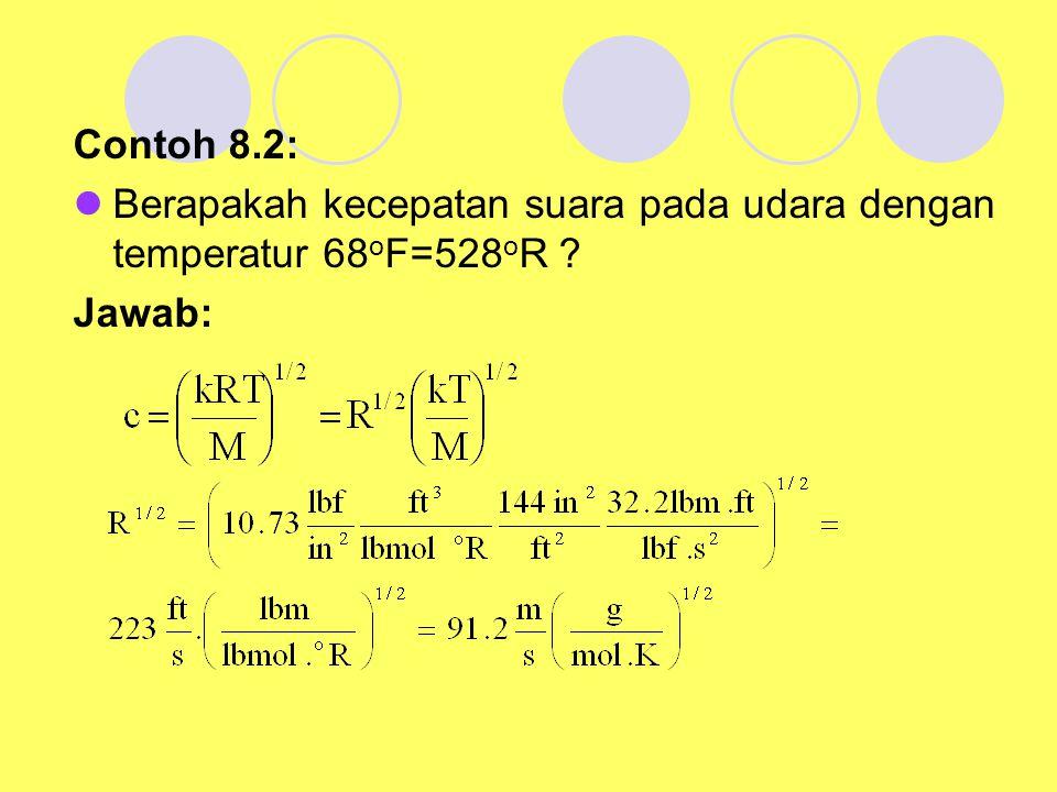 Contoh 8.2: Berapakah kecepatan suara pada udara dengan temperatur 68oF=528oR Jawab: