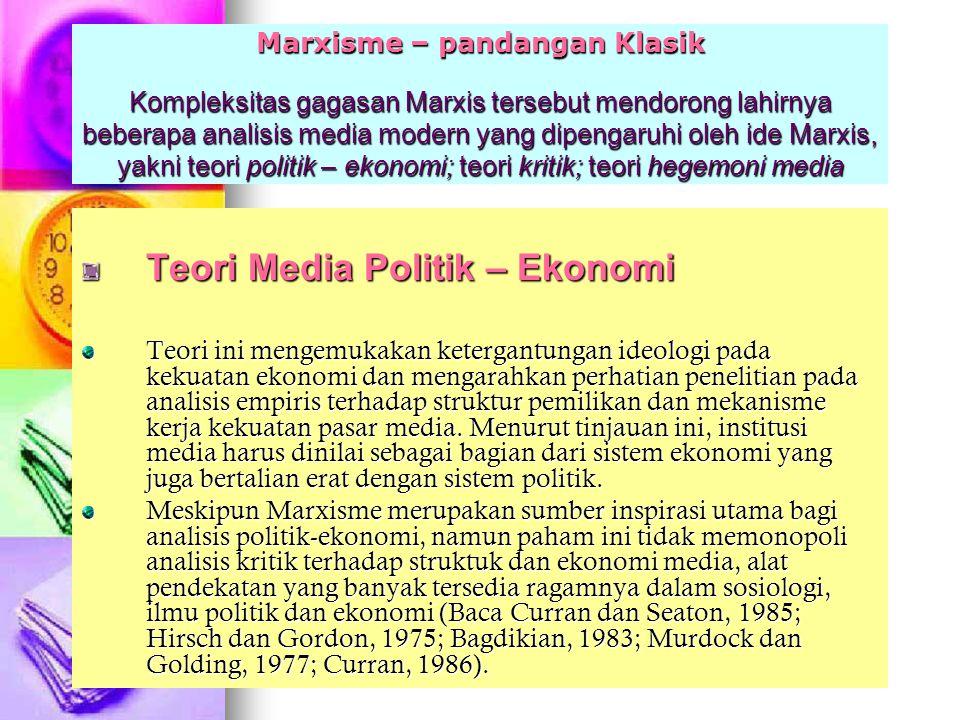 Teori Media Politik – Ekonomi