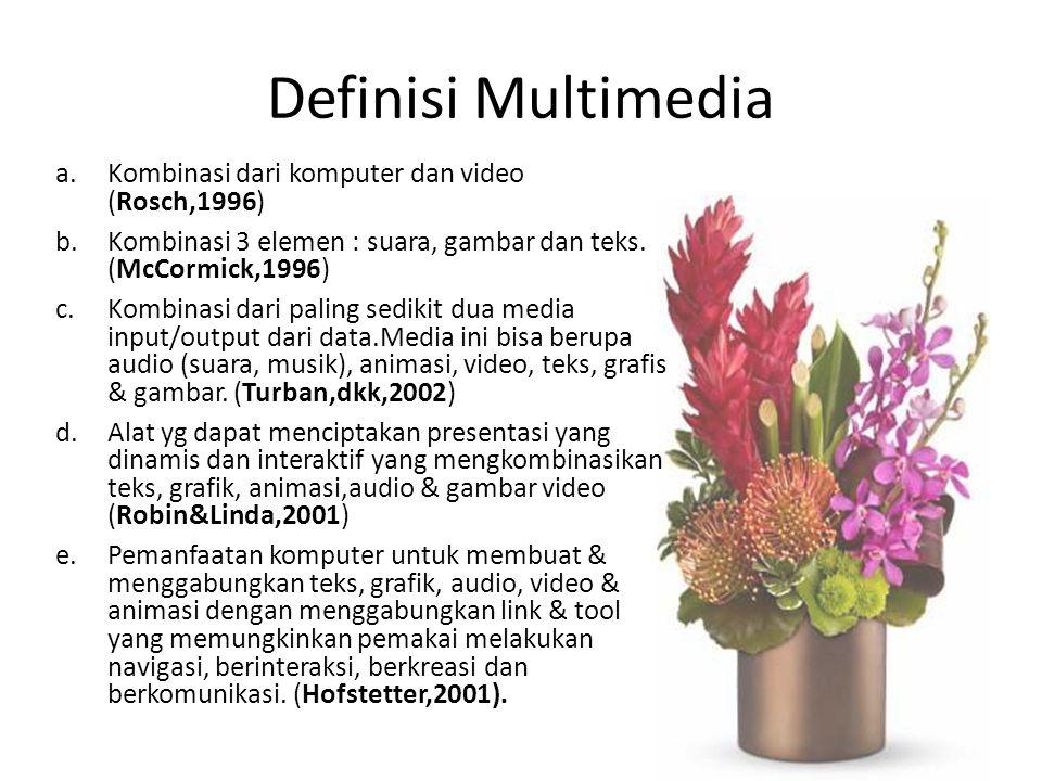 Definisi Multimedia Kombinasi dari komputer dan video (Rosch,1996)