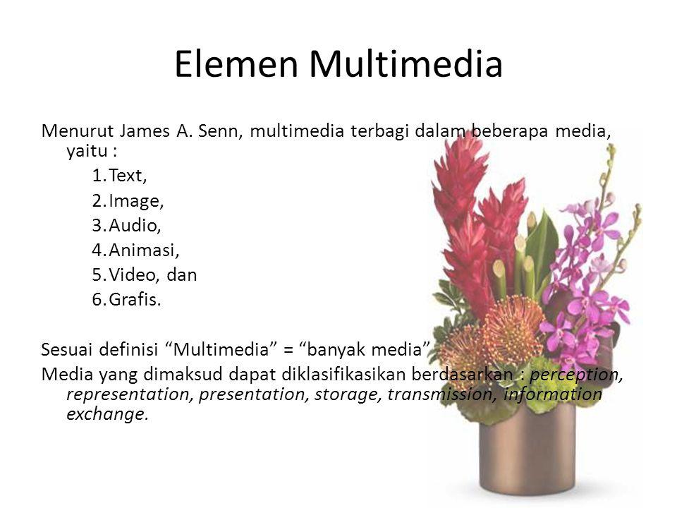 Elemen Multimedia Menurut James A. Senn, multimedia terbagi dalam beberapa media, yaitu : Text, Image,
