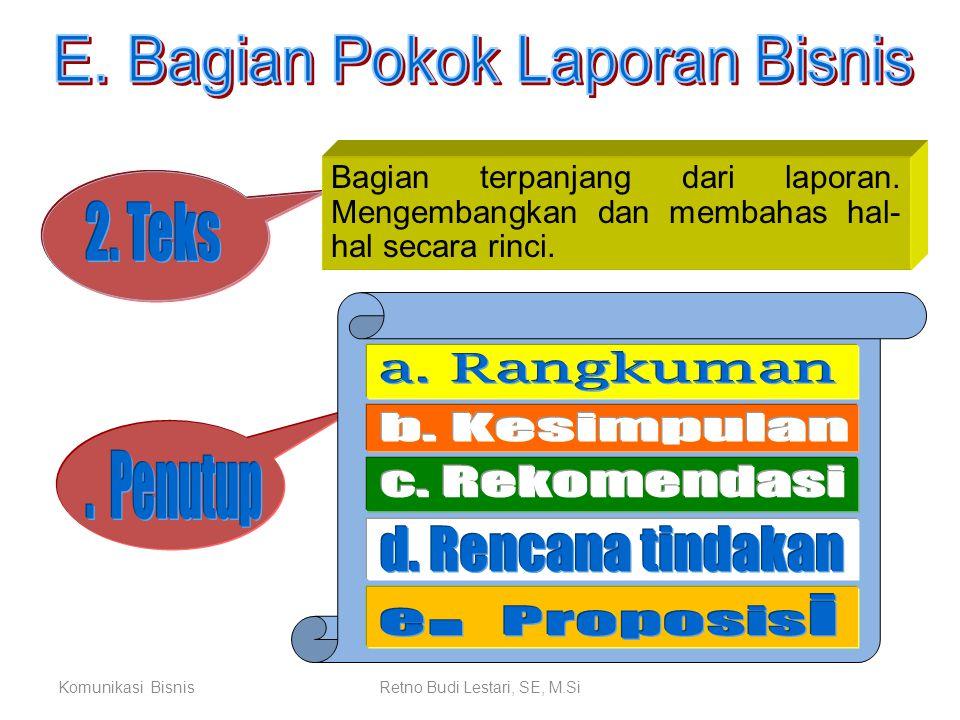 E. Bagian Pokok Laporan Bisnis