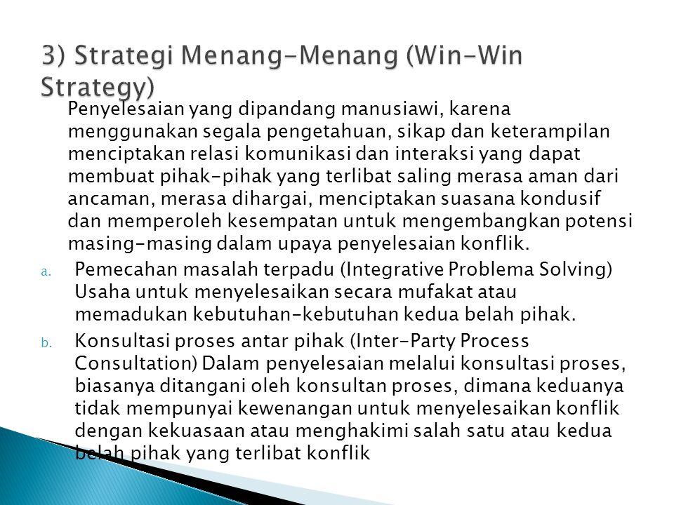 3) Strategi Menang-Menang (Win-Win Strategy)