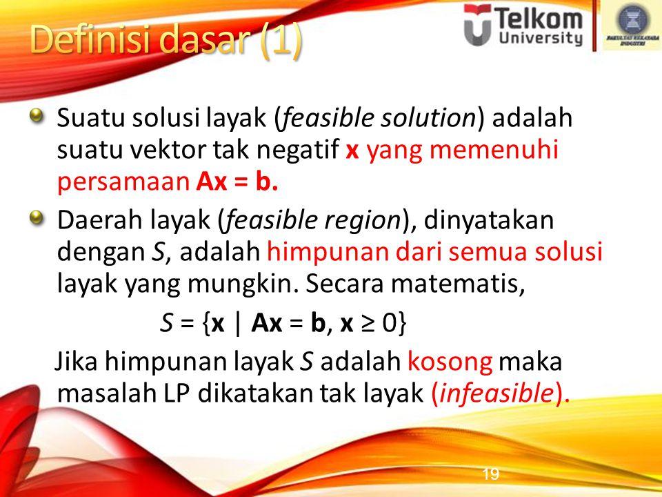 Definisi dasar (1) Suatu solusi layak (feasible solution) adalah suatu vektor tak negatif x yang memenuhi persamaan Ax = b.