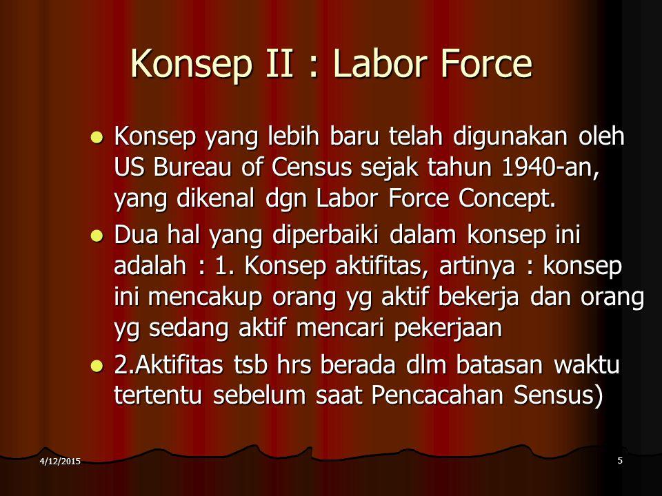 Konsep II : Labor Force Konsep yang lebih baru telah digunakan oleh US Bureau of Census sejak tahun 1940-an, yang dikenal dgn Labor Force Concept.